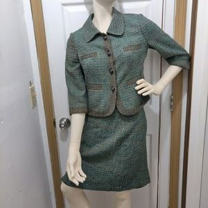 NWOT limited green tweed skirt SUIT ☀️read SIZE!!